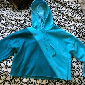 Blue hoodie crop top